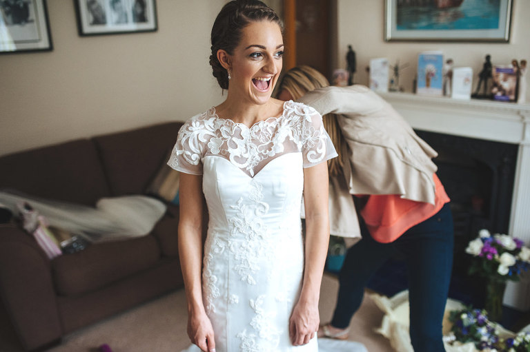 happy and relaxed bride