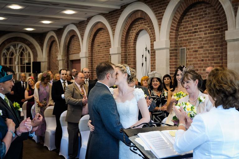 wedding first kiss surrey