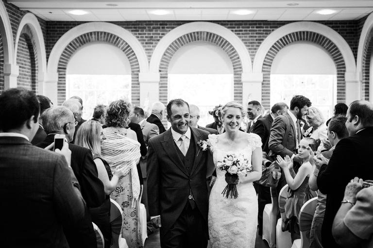 great fosters orangery bride groom aisle