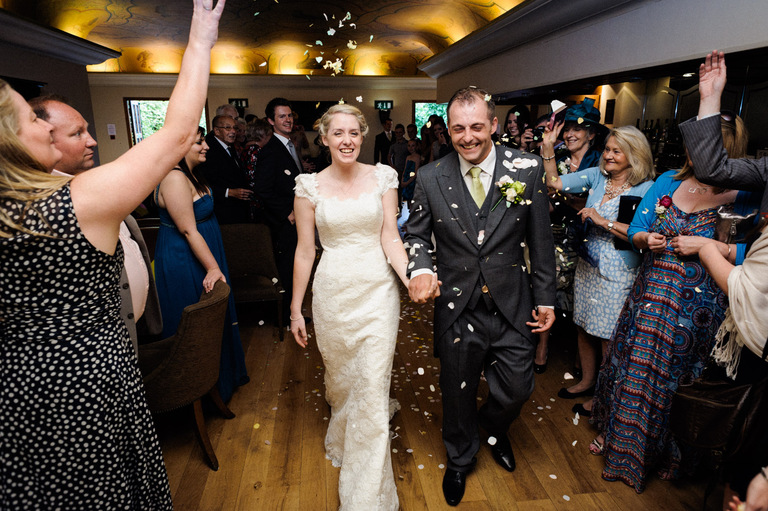 indoor confetti wedding