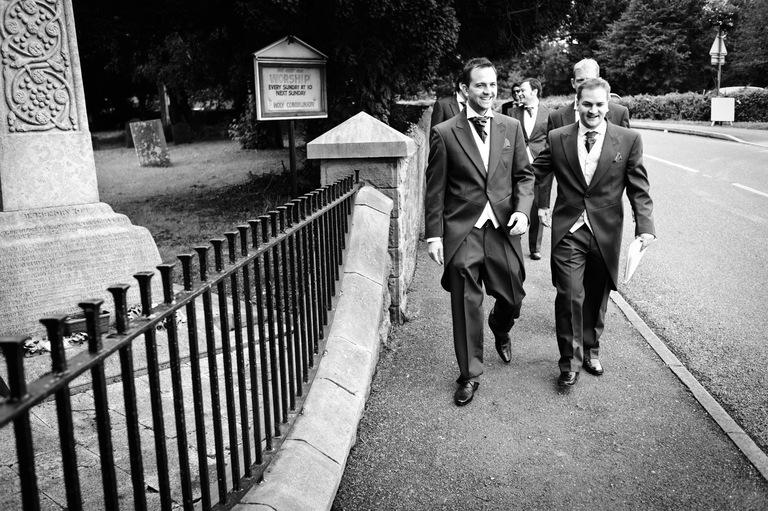 groom walking to church