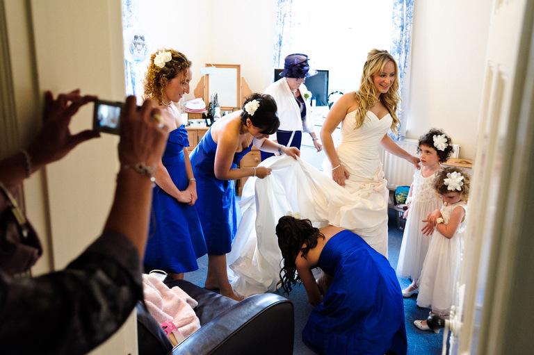 bride getting ready bridesmaids