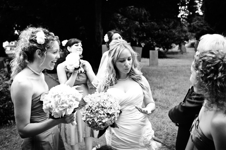nervous bride calms herself