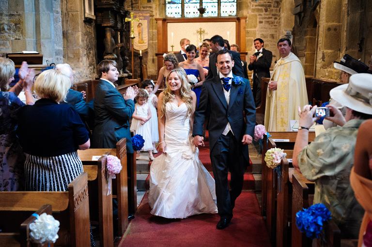 walking down aisle derbyshire church wedding