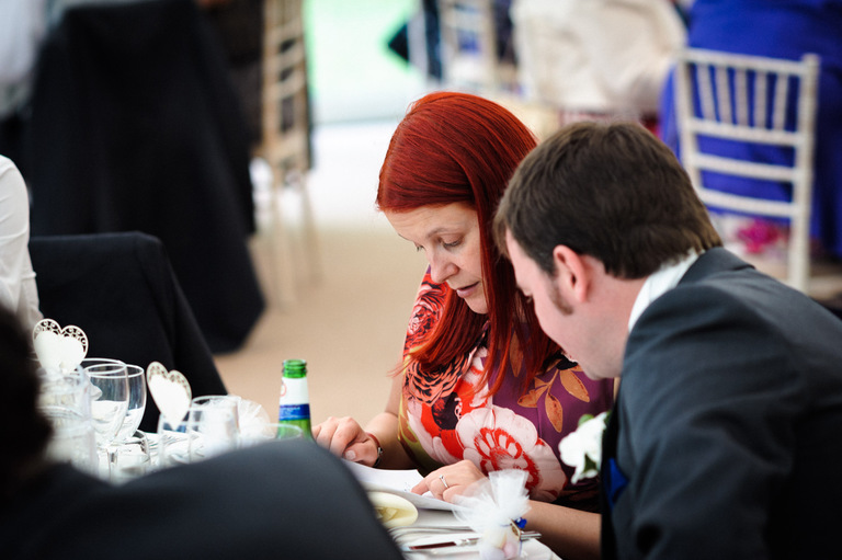guests playing wedding quiz
