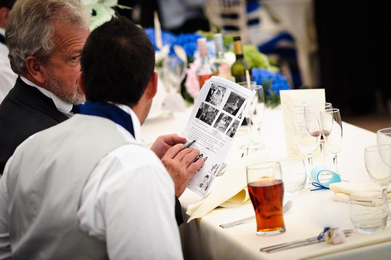 guests complete wedding quiz