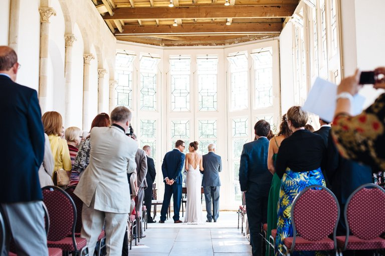 wedding couple at highcliffe castle