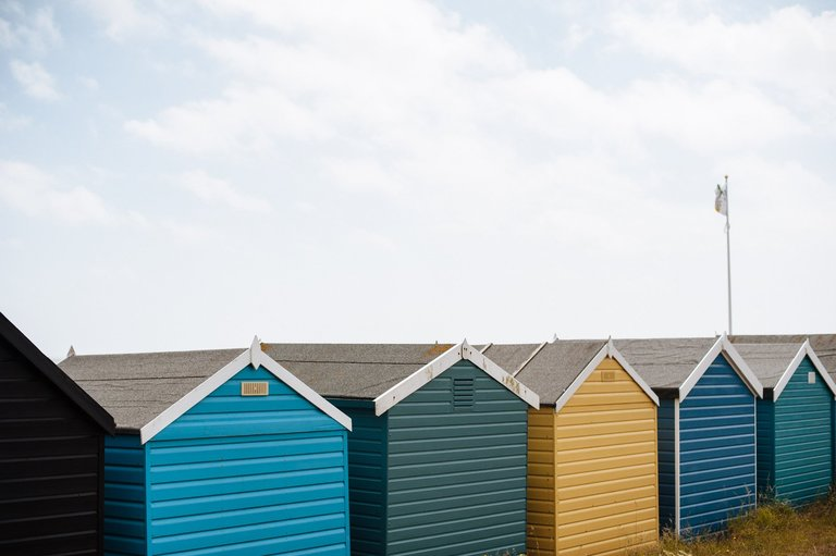 dorset coast coloured huts