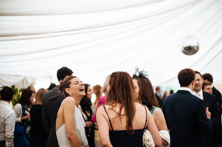 very happy bride at her wedding