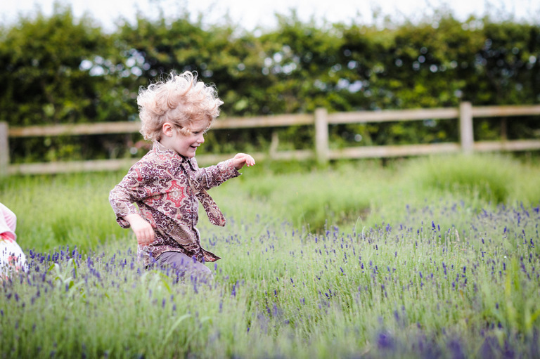 kids running through lavender maze wedding photography