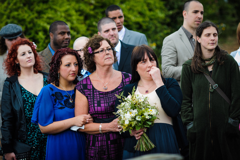outdoor wedding emotional guests