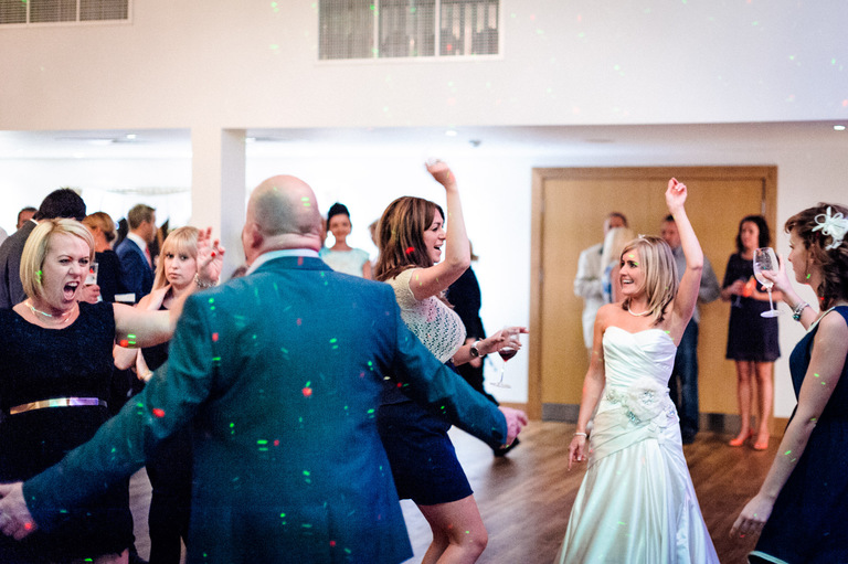 bride and guests dancing mythe barn