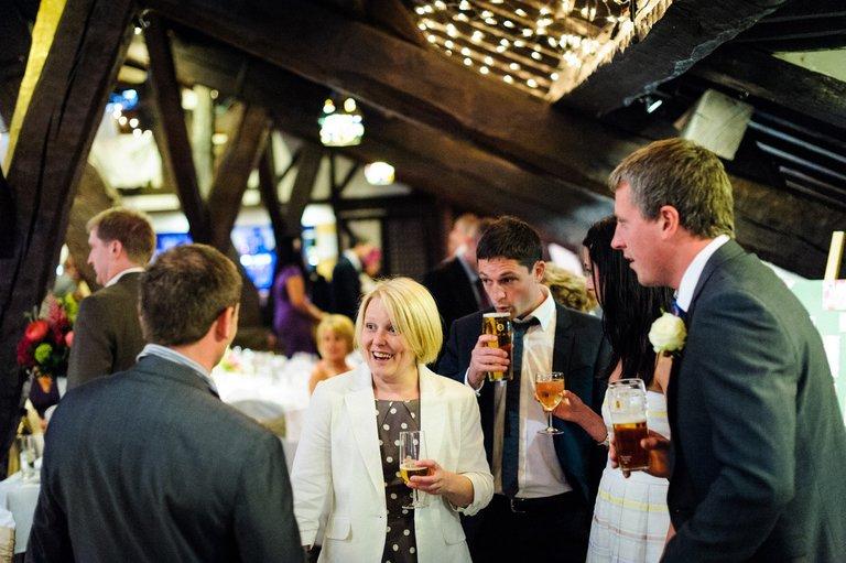 wedding guests at rivington barn lancashire