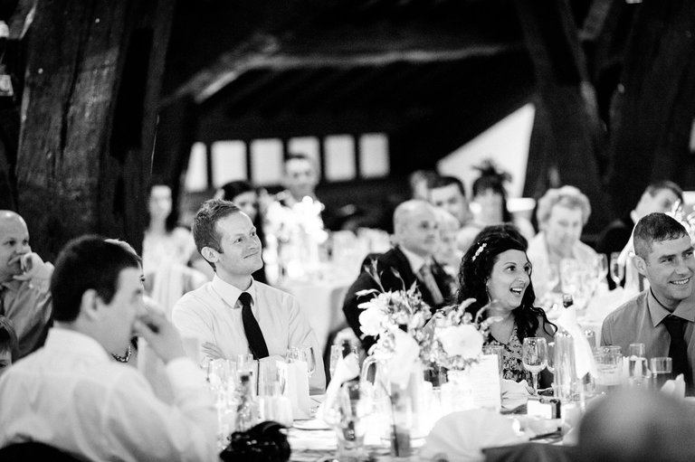 wedding guests during speeches