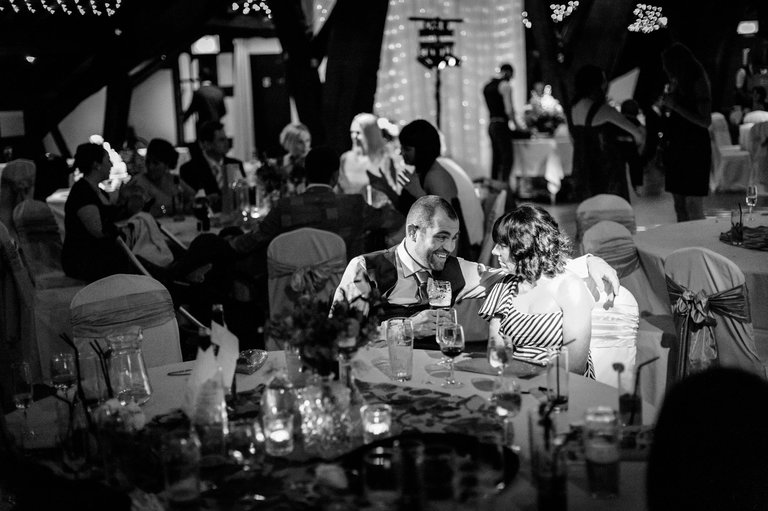 wedding guests caught in the spotlight