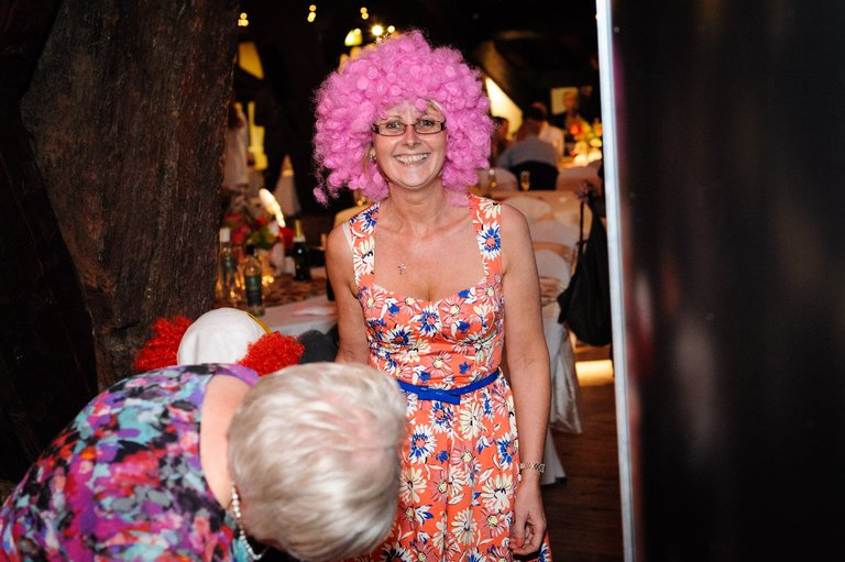 wedding photo booth pink afro