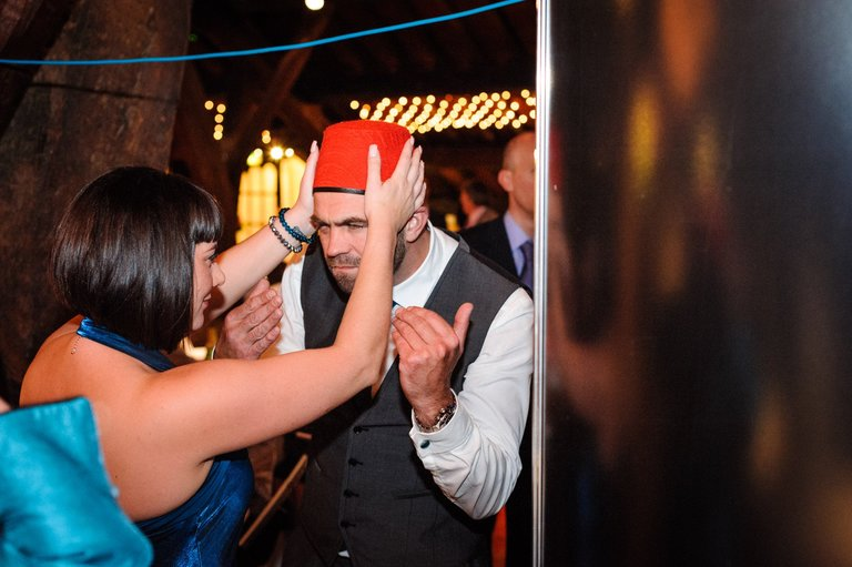 wedding photo booth fancy dress fez
