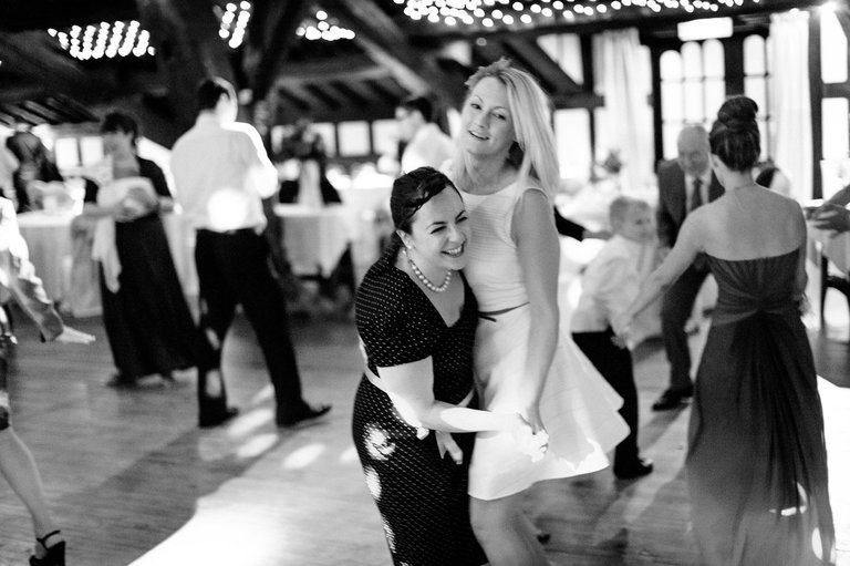 wedding guests dancing into the night