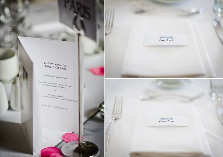 wedding menu and place names