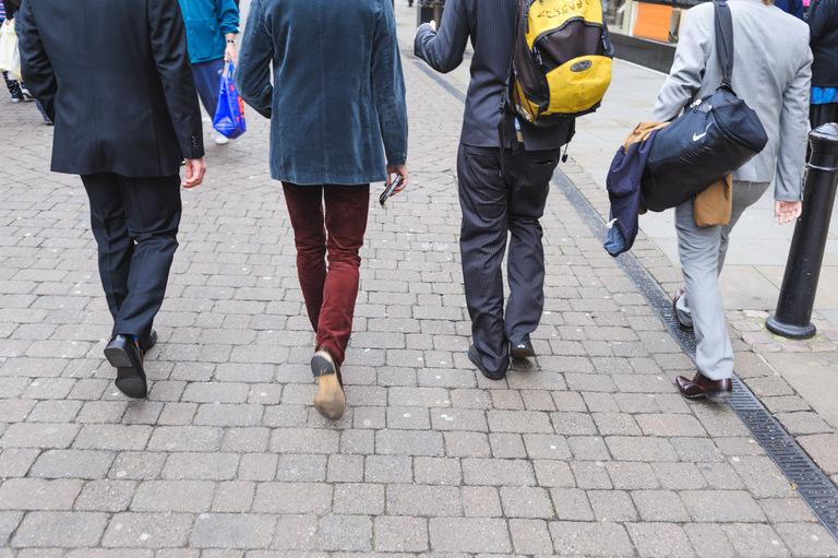 Groomsmen walking through doncaster to a wedding