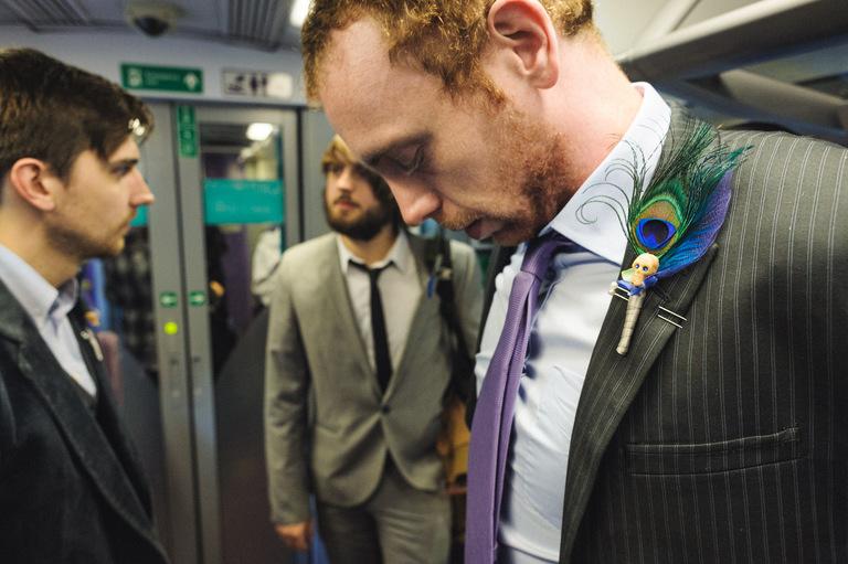 groomsmen on a train sheffield wedding