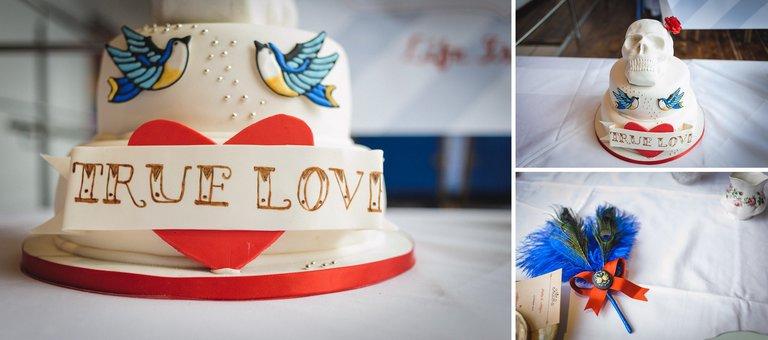 skull and swallows wedding cake alternative