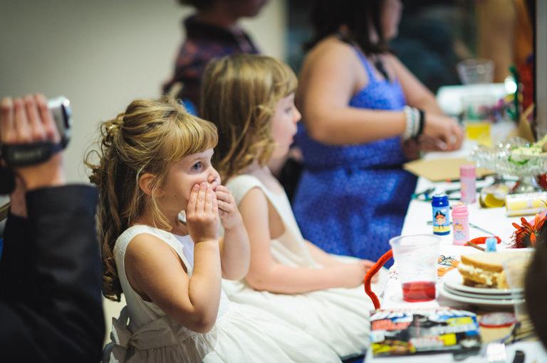 little girl being quiet during wedding speeches