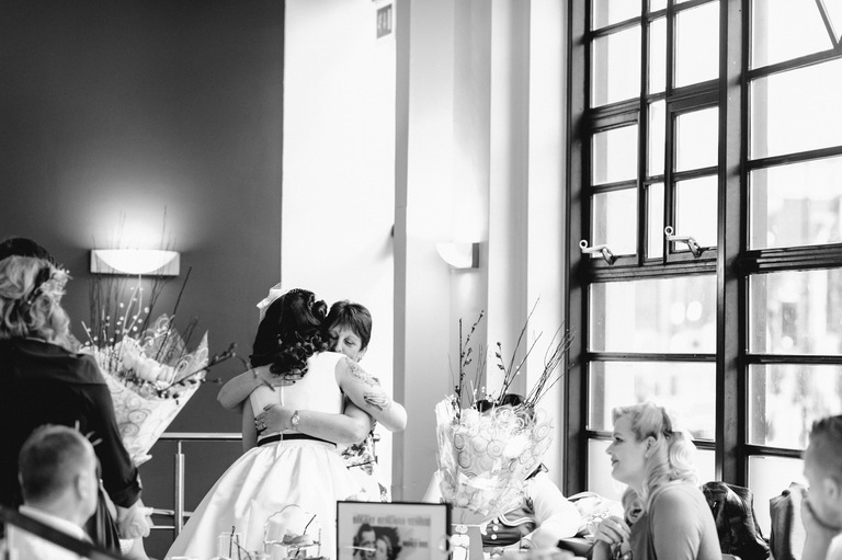 bride hugging guests sheffield cinema wedding