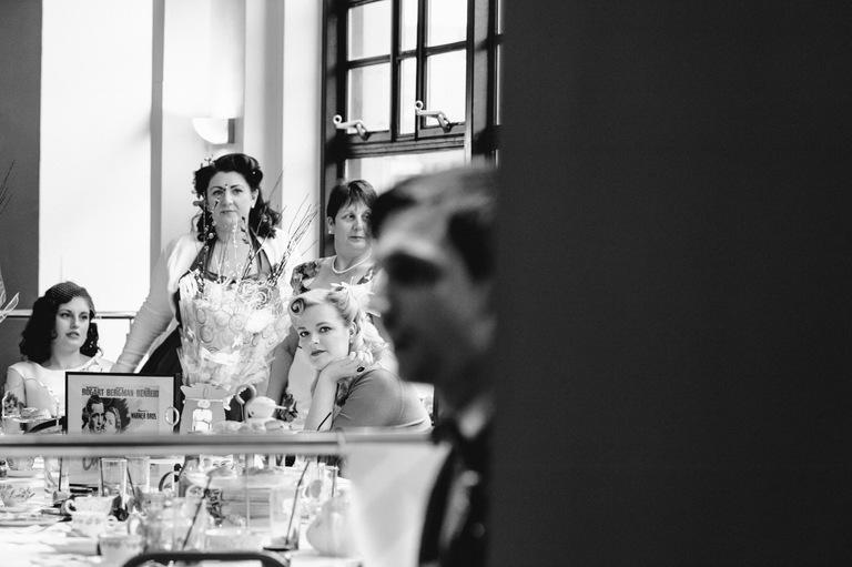 bride watching groom's speech sheffield wedding