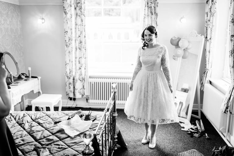 bride 1950's style wedding dress