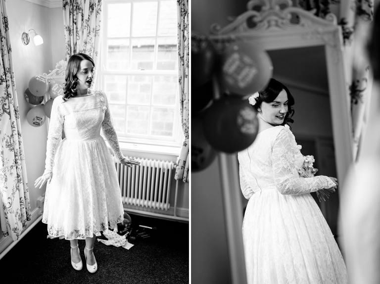 bride admiring her dress