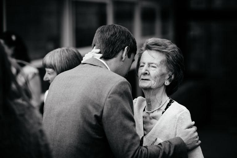 emotional groom with his grandma