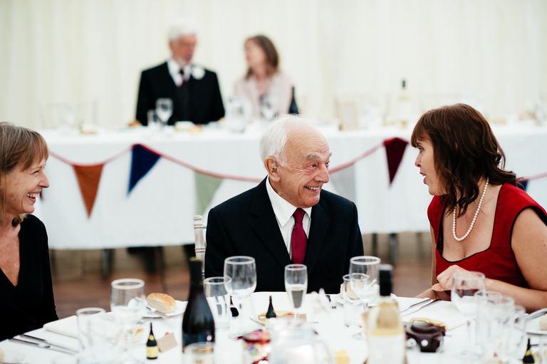 elderly wedding guests