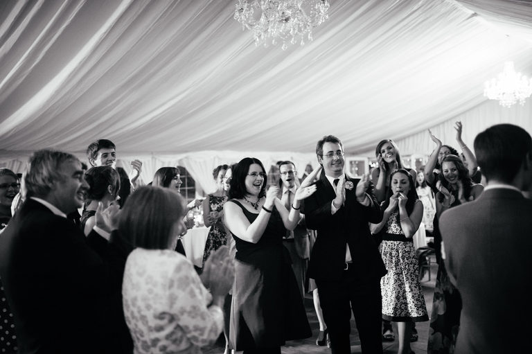wedding guests applauding first dance