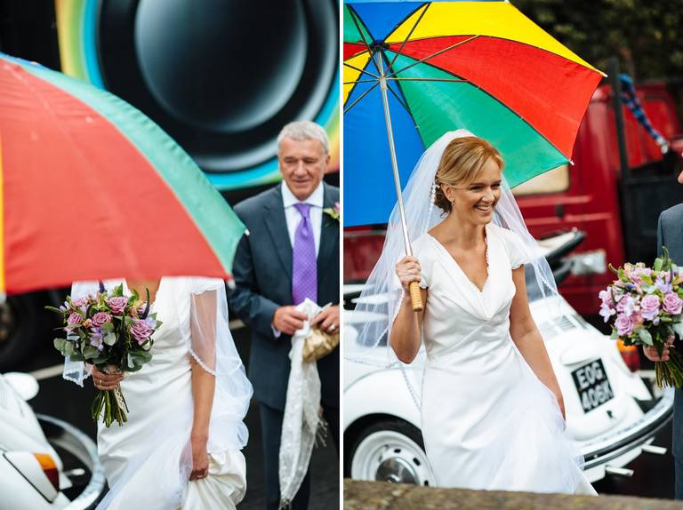 bride with rainbow umbrella
