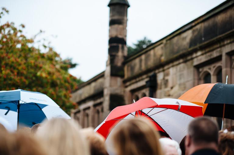 wet wedding umbrellas
