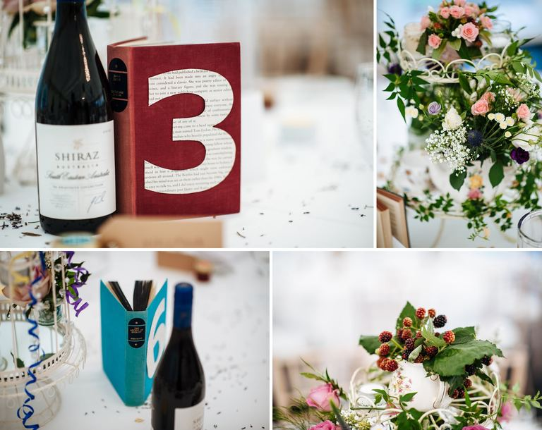 wedding table details books and flowers