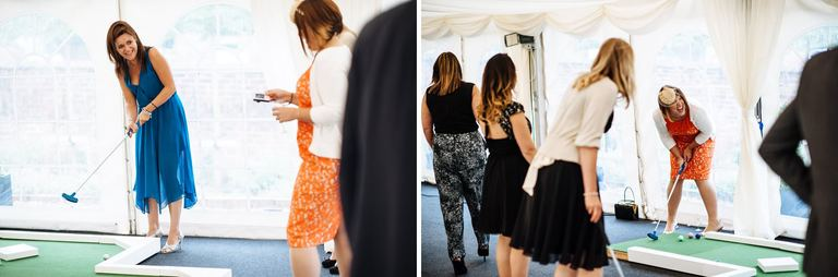 indoor golf at a wedding