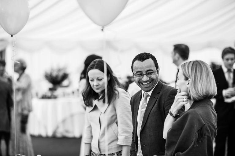 happy smiling wedding guests