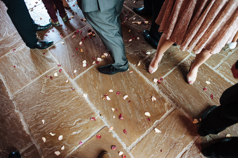 confetti on barn floor