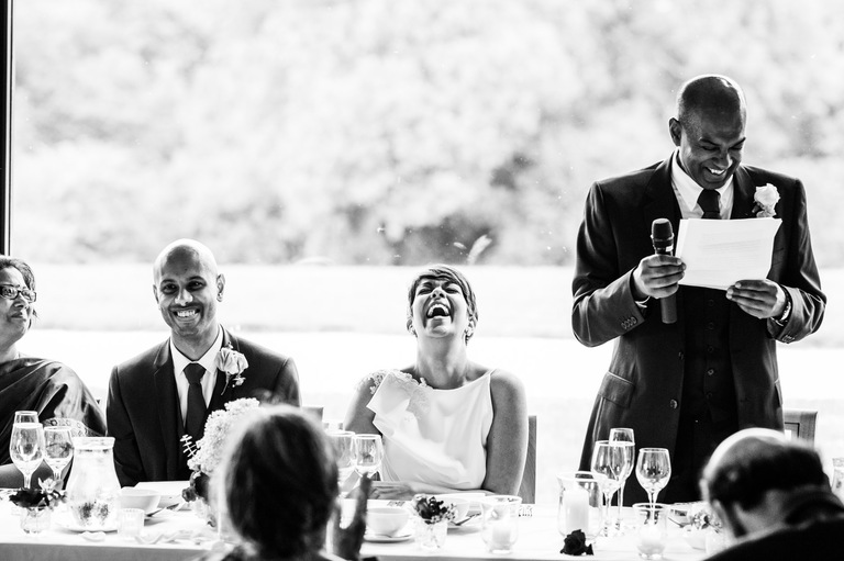 bride laughing father's speech