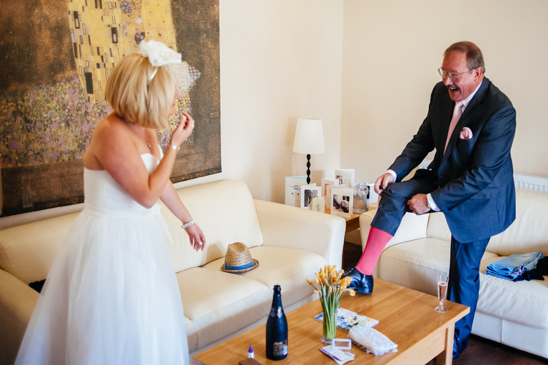 bride father wedding pink socks
