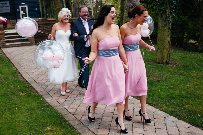 bride bridesmaids balloons wedding