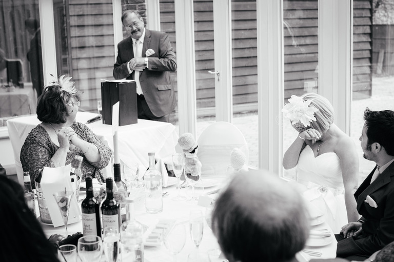 bride crying during father's speech