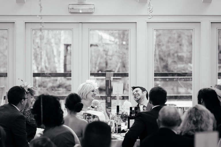 bride and groom laughing great halingbury