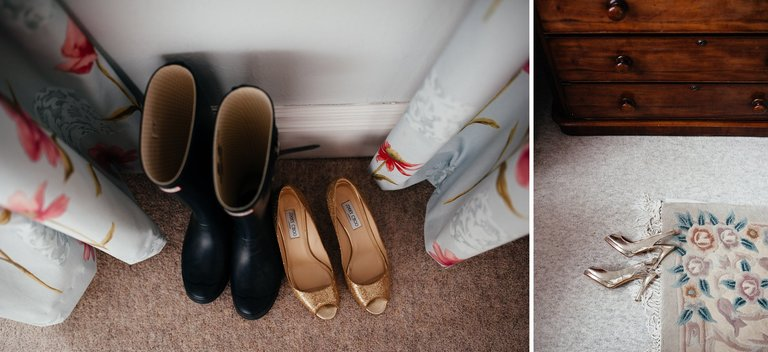wellies and wedding shoes