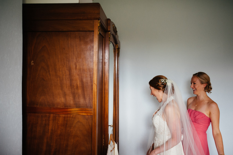 bride checking in mirror