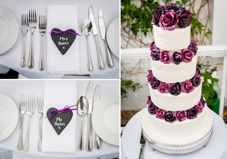 wedding cake and place settings