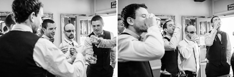 groom doing shots before the wedding