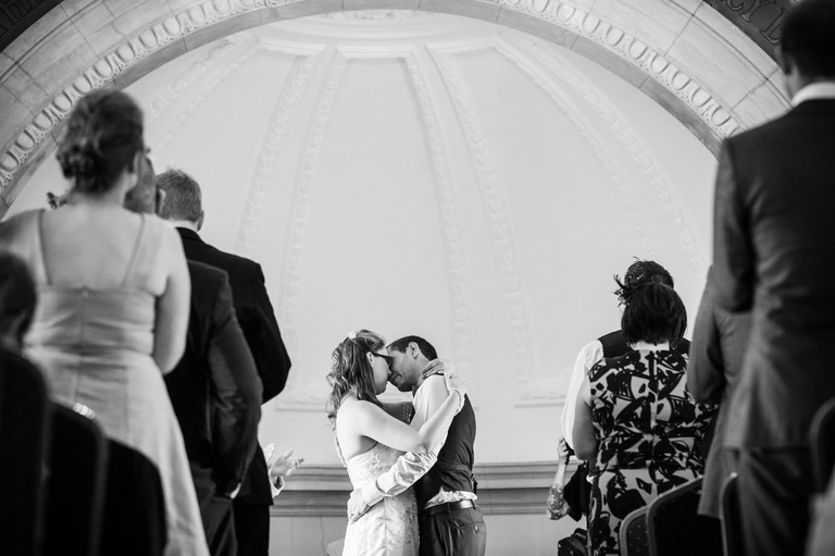 bride groom first kiss normanton church rutland